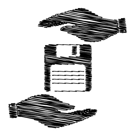 old pc: Floppy disk sign. Save or protect symbol by hands with scribble effect. Illustration
