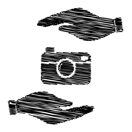whim of fashion: Digital photo camera icon. Save or protect symbol by hands with scribble effect.