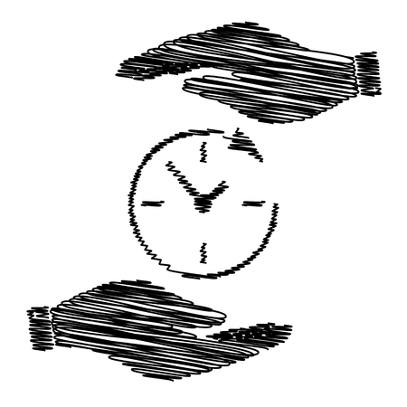 around the clock: Service and support for customers around the clock and 24 hours. Save or protect symbol by hands with scribble effect. Illustration