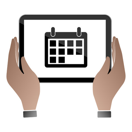 touchpad: Hands hold and touch tablet PC on vhite background, vector illustration Illustration
