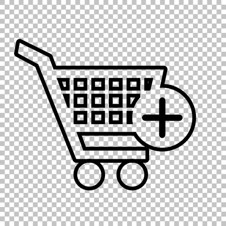 shoppingcart: Shopping Cart and add Mark Icon. Line icon on transparent background