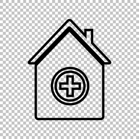 emt: Hospital  sign. Line icon on transparent background Illustration