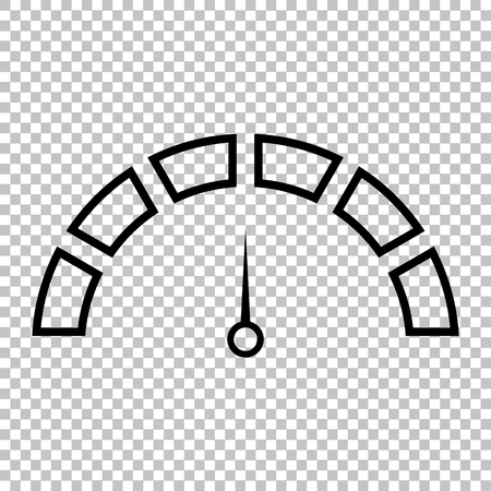 warning indicator: Speedometer sign. Line icon on transparent background