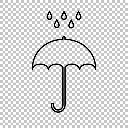 Umbrella with water drops. Rain protection symbol. Line icon on transparent background Illustration