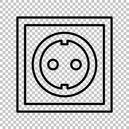 con: Electrical socket sign. Line con on transparent background
