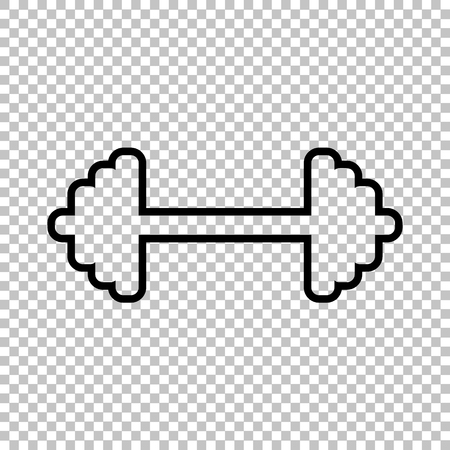 heavy load: Dumbbell weights sign. Line icon on transparent background Illustration