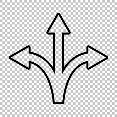 Three-way direction arrow sign. Line icon on transparent background  イラスト・ベクター素材