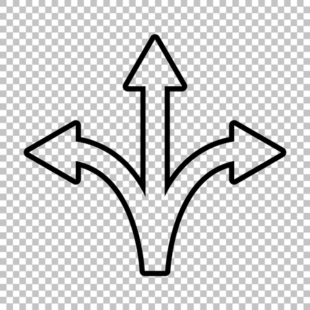 Three-way direction arrow sign. Line icon on transparent background 向量圖像