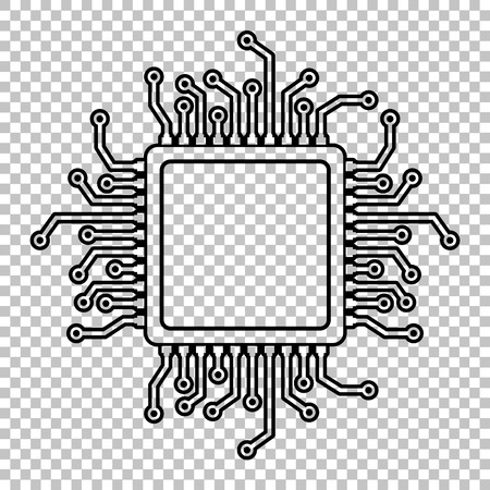 semiconductors: CPU Microprocesso. Line icon on transparent background Illustration