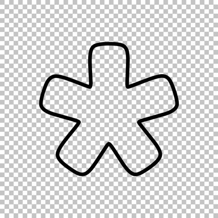 reference point: Asterisk star sign. Line icon on transparent background