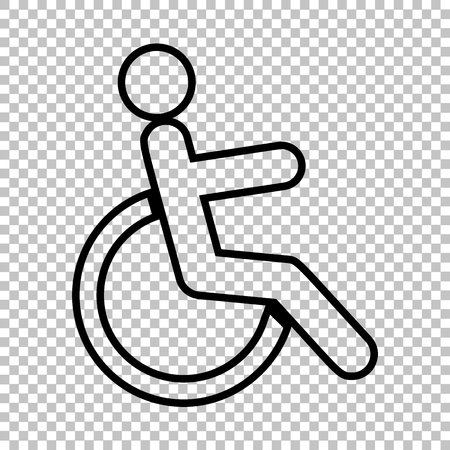 Disabled sign. Line icon on transparent background