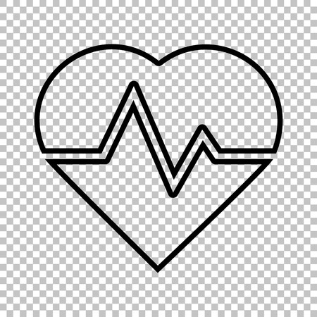 heartbeat line: Heartbeat sign. Line icon on transparent background Illustration