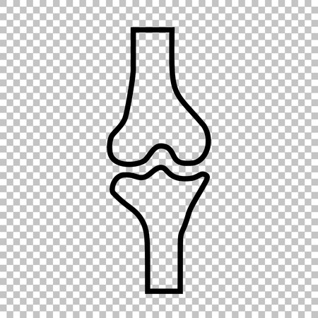 rheumatism: Knee joint  sign. Line icon on transparent background