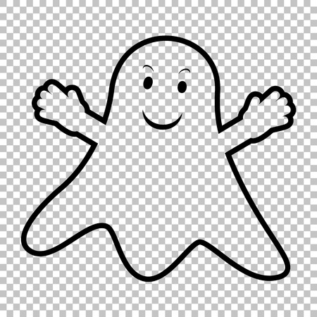 Ghost isolated sign. Line icon on transparent background Vettoriali