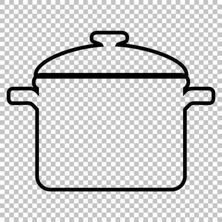 casserole: Cooking pan sign. Line icon on transparent background