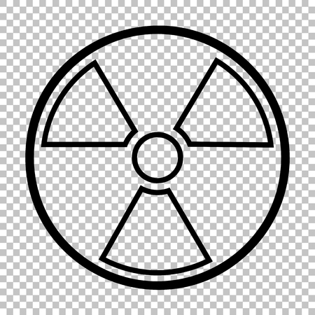 polluted: Radiation Round sign. Line icon on transparent background
