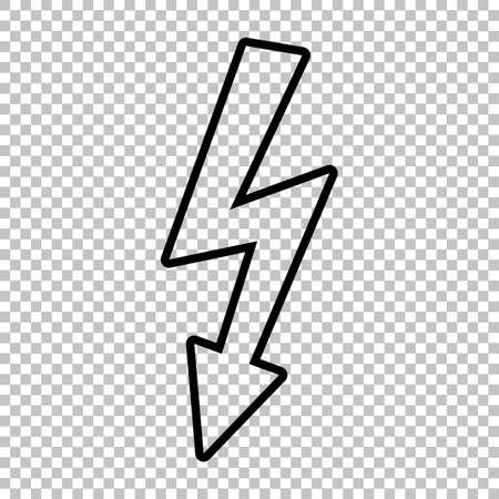 volte: High voltage danger sign. Line icon on transparent background Illustration