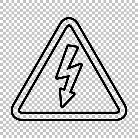 volte: High voltage danger sign. Line icon on transparent background Illustration