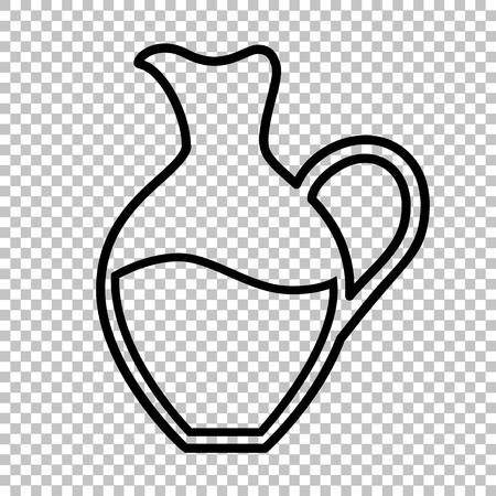 amphora: Amphora sign. Line icon on transparent background Illustration
