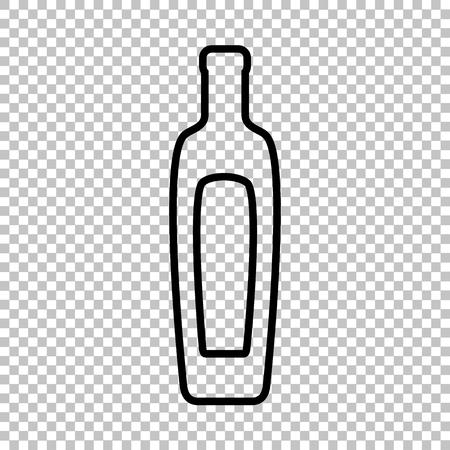 salad dressing: Olive oil bottle sign. Line icon on transparent background