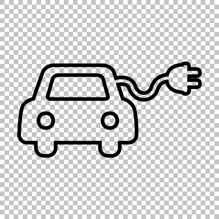 echnology: Eco electrocar sign. Line icon on transparent background