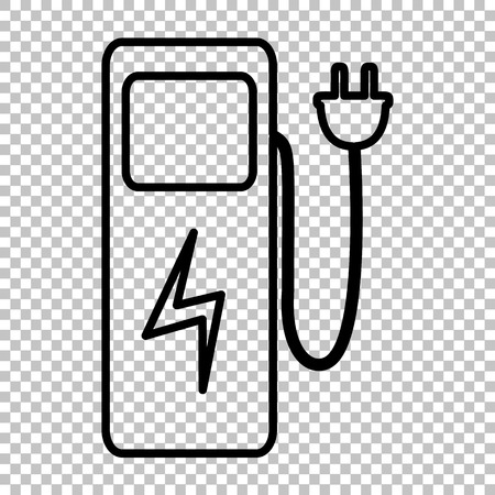 zero emission: Electric car charging station sign. Line icon on transparent background