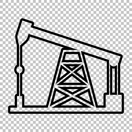 drilling rig: Oil drilling rig sign. Line icon on transparent background