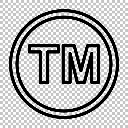 Trade mark sign. Line icon on transparent background Illustration