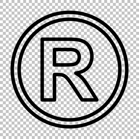Registered Trademark sign. Line icon on transparent background