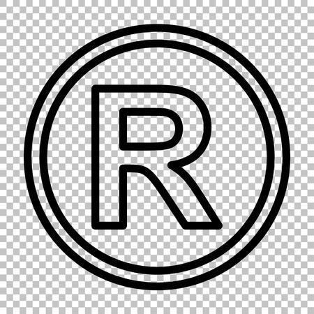 signo de marca registrada. icono de la línea de fondo transparente