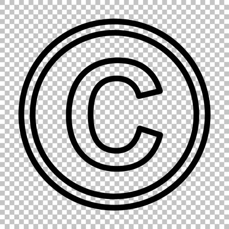 convention: Copyright sign. Line icon on transparent background