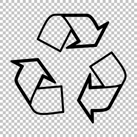 recyclable waste: Recycle logo concept. Line icon on transparent background Illustration