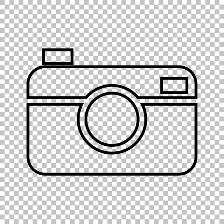Digital photo camera line vector icon on transparent background Çizim