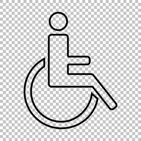 one man only: Disabled line vector icon on transparent background