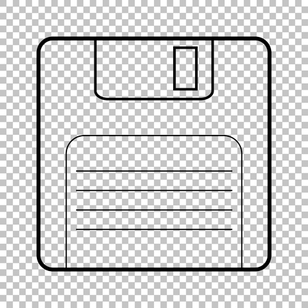 old pc: Floppy disk line vector icon on transparent background Illustration