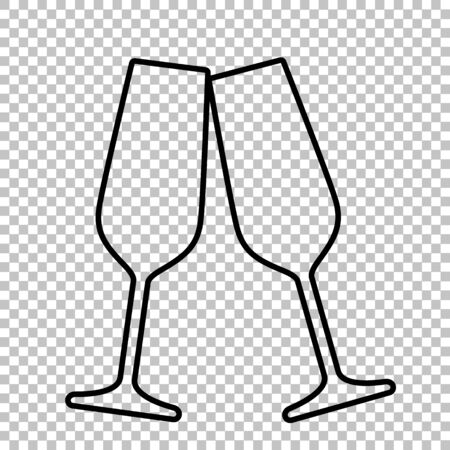 Sparkling champagne glasses line vector icon on transparent background Çizim