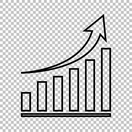 Growing graph line vector icon on transparent background Çizim