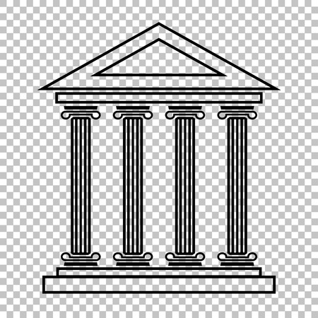 historical building: Historical building line vector icon on transparent background Illustration