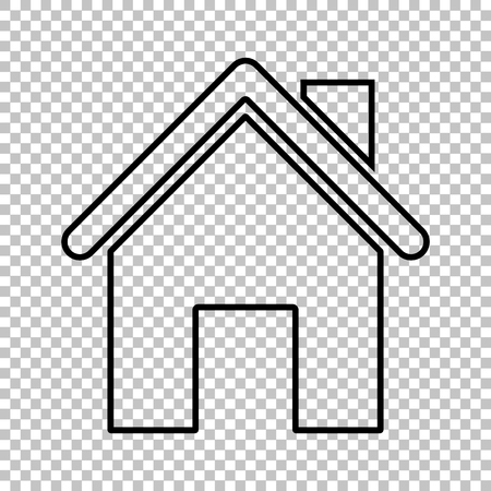 background house: Home line vector icon on transparent background