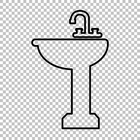 necessity: Bathroom sink line vector icon on transparent background