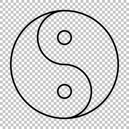 Ying yang symbol line vector icon on transparent background Illustration