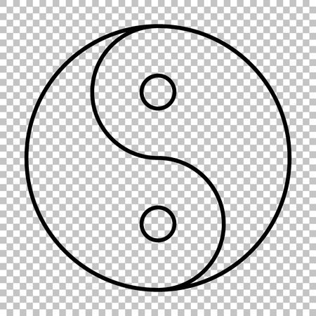 daoism: Ying yang symbol line vector icon on transparent background Illustration