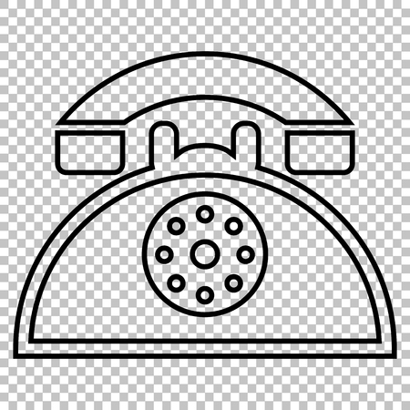 old fashioned rotary phone: Retro telephone line vector icon on transparent background Illustration