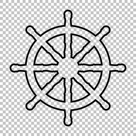 schooner: Ship wheel line vector icon on transparent background