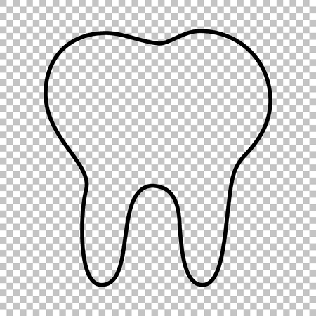 toothcare: Tooth line vector icon on transparent background
