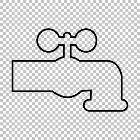 hot water tap: The water faucet line vector icon on transparent background