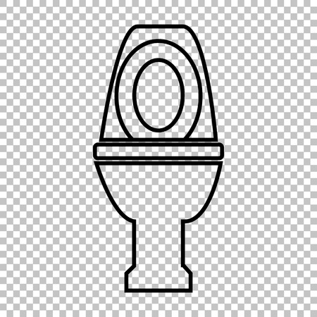 Toilet line vector icon on transparent background