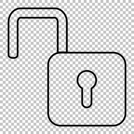 unlock: Unlock line vector icon on transparent background