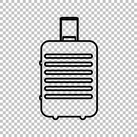trolley case: Baggage line vector icon on transparent background