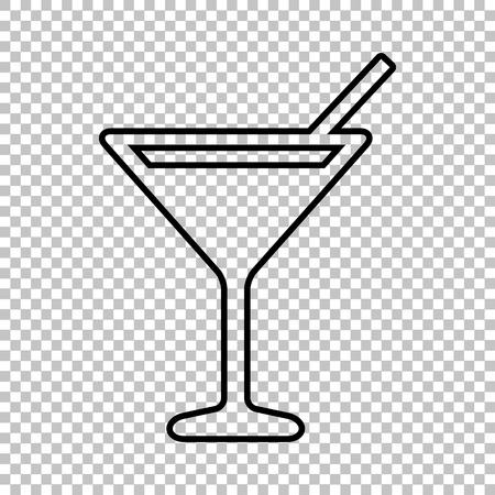 coctail: Coctail line vector icon on transparent background Illustration